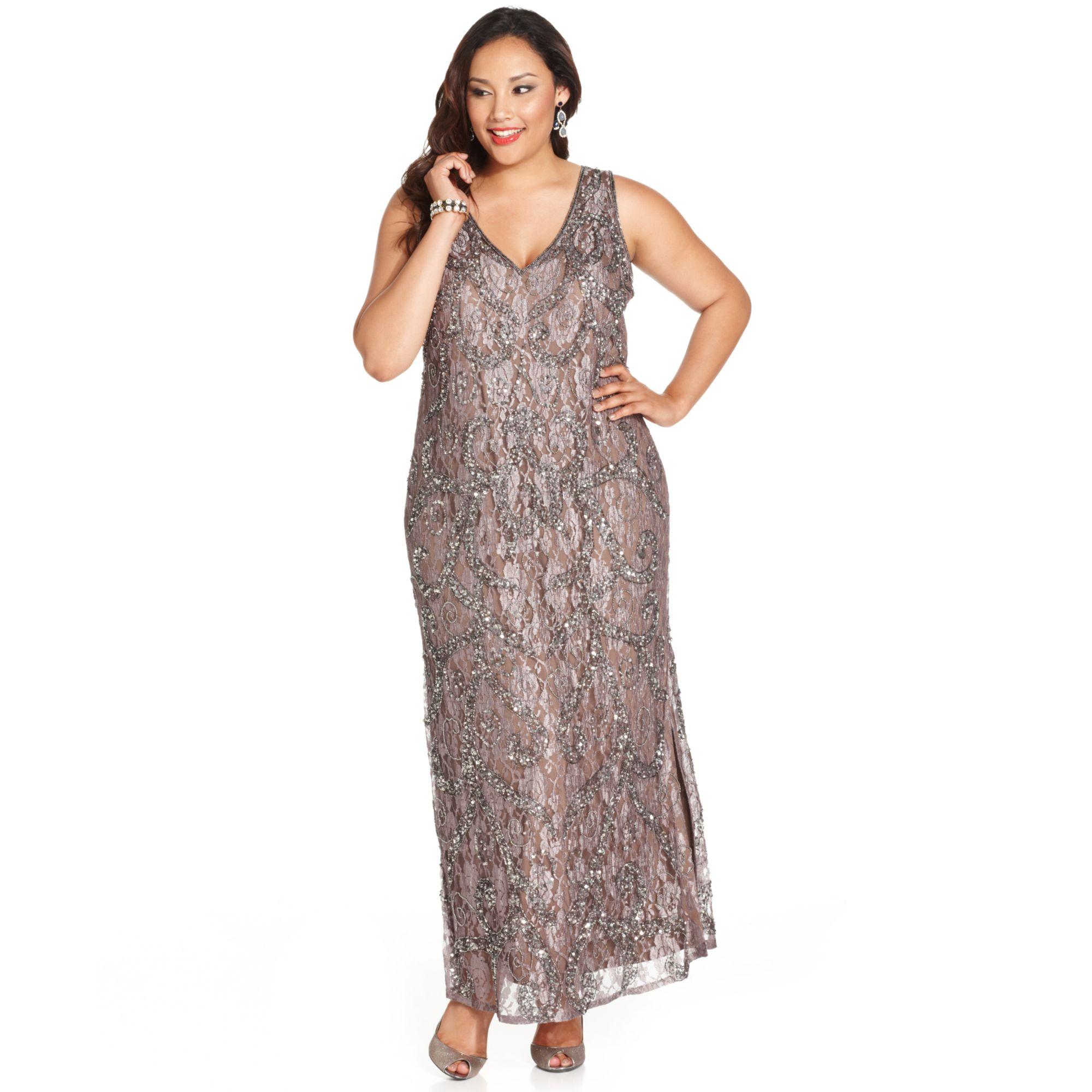 fcbaa6feeead6 Lyst - Pisarro Nights Plus Size Embellished Lace Gown in Metallic
