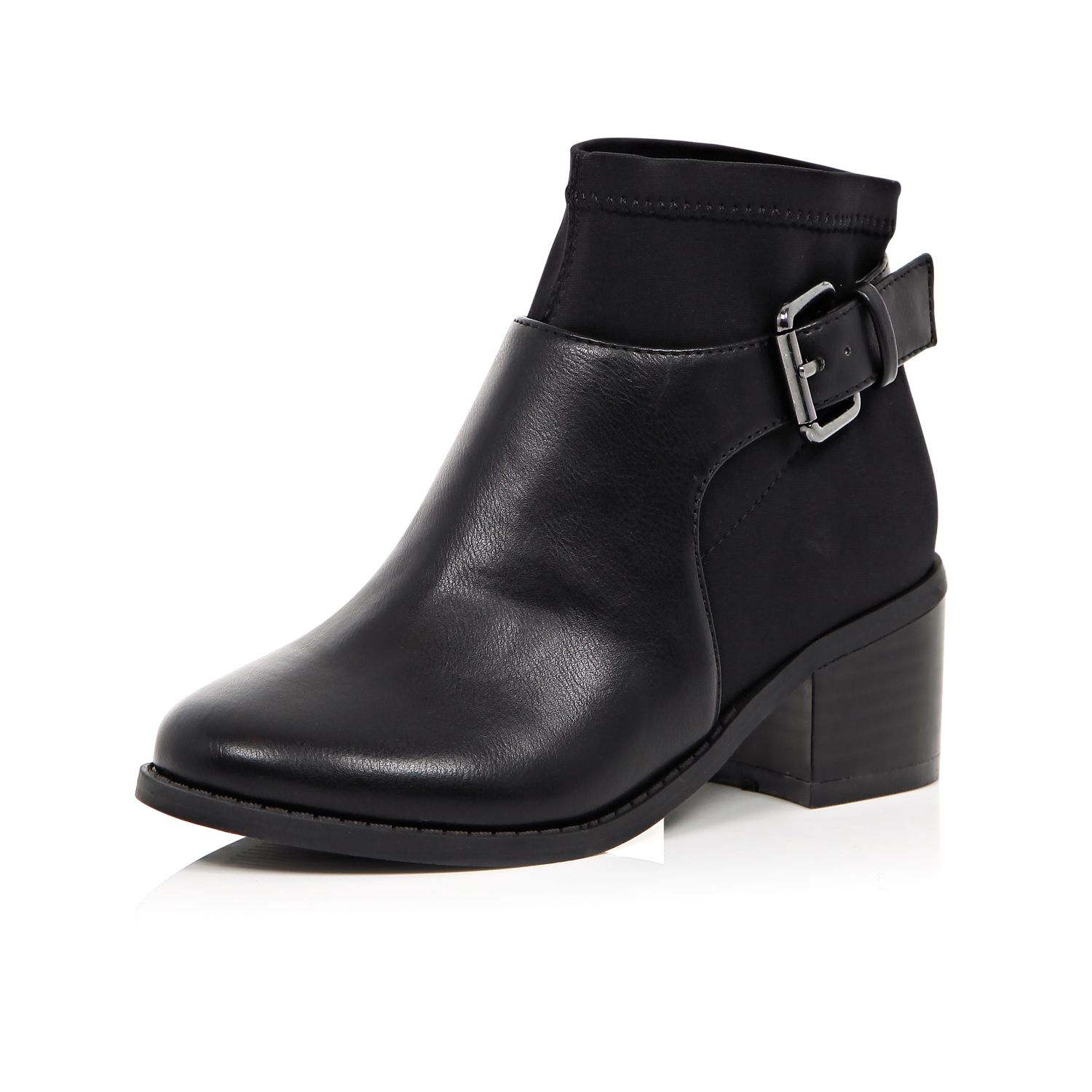 River island Girls Black Scuba Buckle Ankle Boots in Black | Lyst