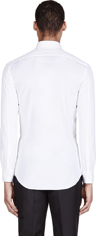 Neil barrett white skinny tie print shirt in white for men for Neil barrett tuxedo shirt