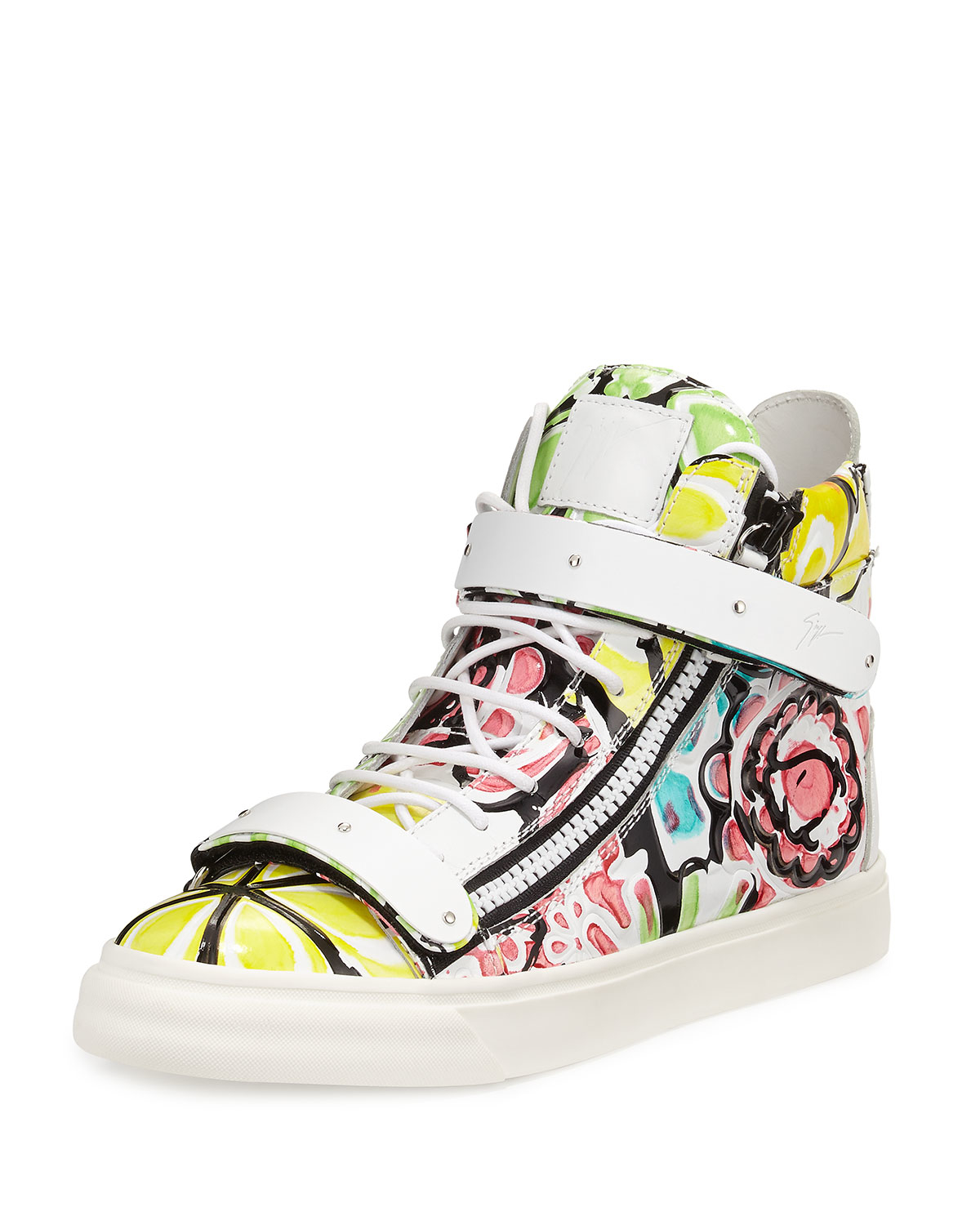 611ea864c62bb Giuseppe Zanotti Floral-Print High-Top Sneakers in White for Men - Lyst