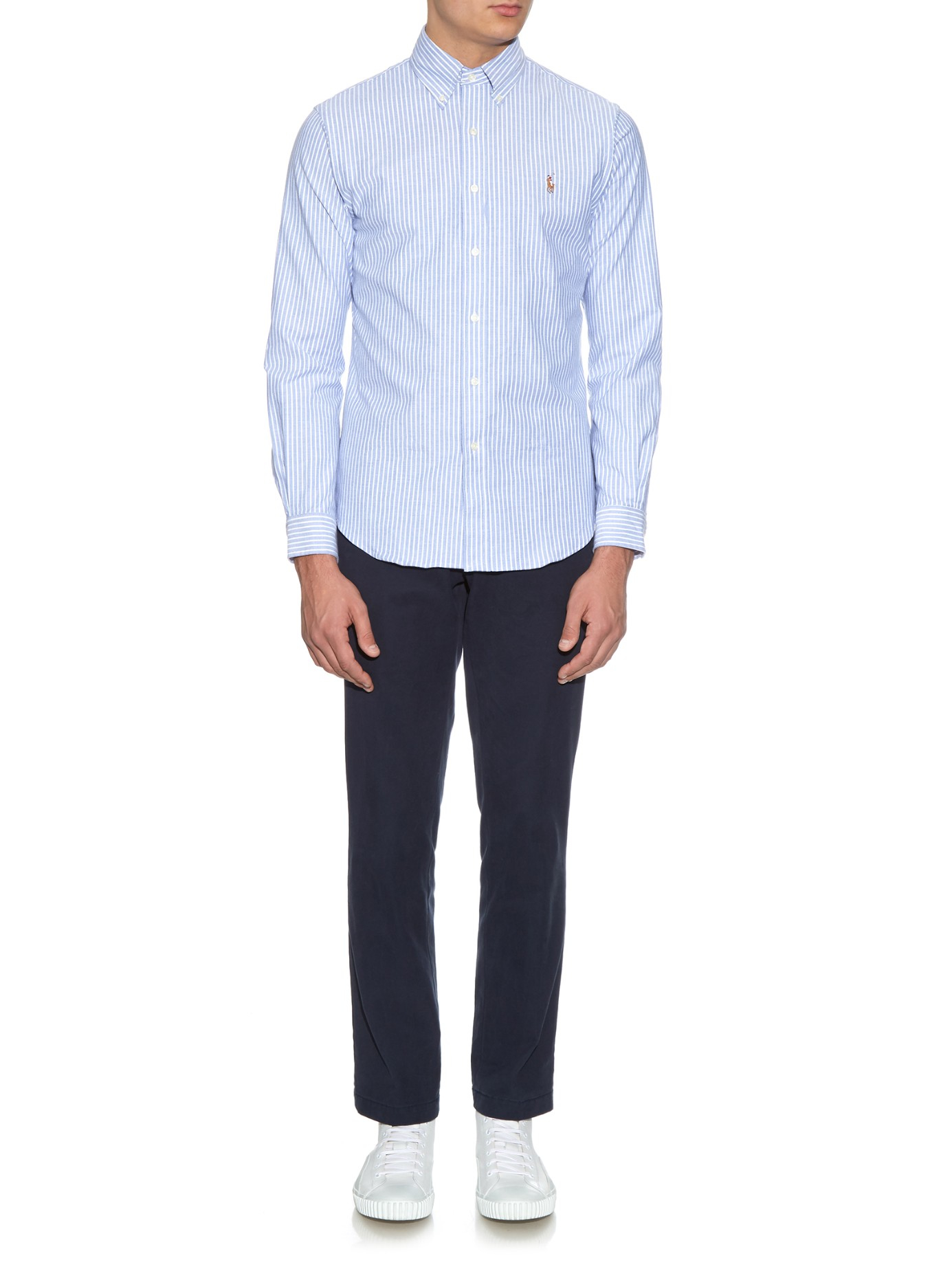 e4a8622b480 Lyst - Polo Ralph Lauren Striped Cotton Oxford-blend Shirt in Blue ...