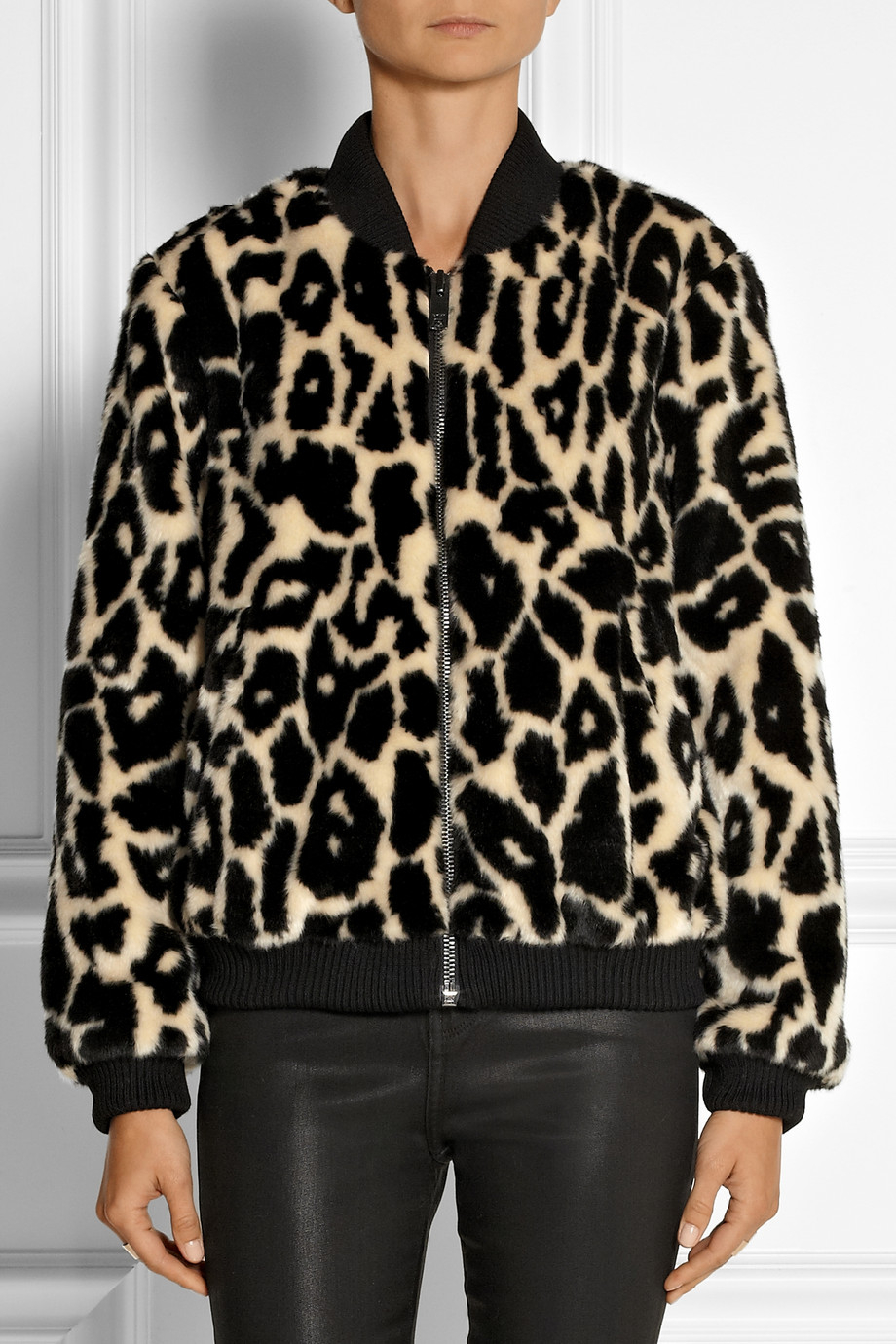 Lyst Dkny Leopard Print Faux Fur Bomber Jacket In Black