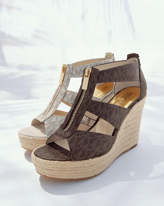8d5720089f1a MICHAEL Michael Kors Damita Logo Zipper Wedge Sandal in Brown - Lyst