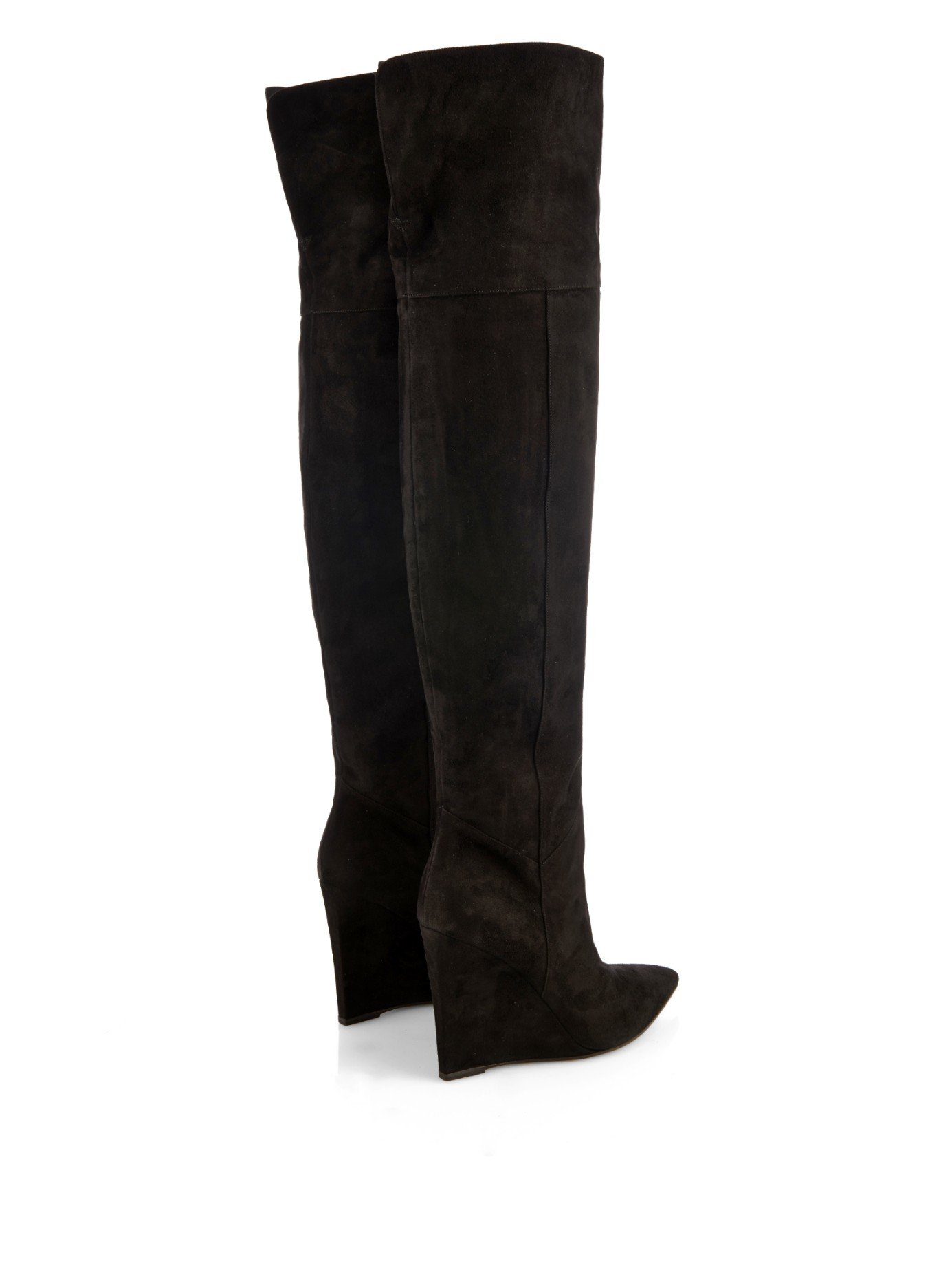 2ff26d7a1a8 Saint Laurent Over-the-knee Suede Wedge Boots in Black - Lyst