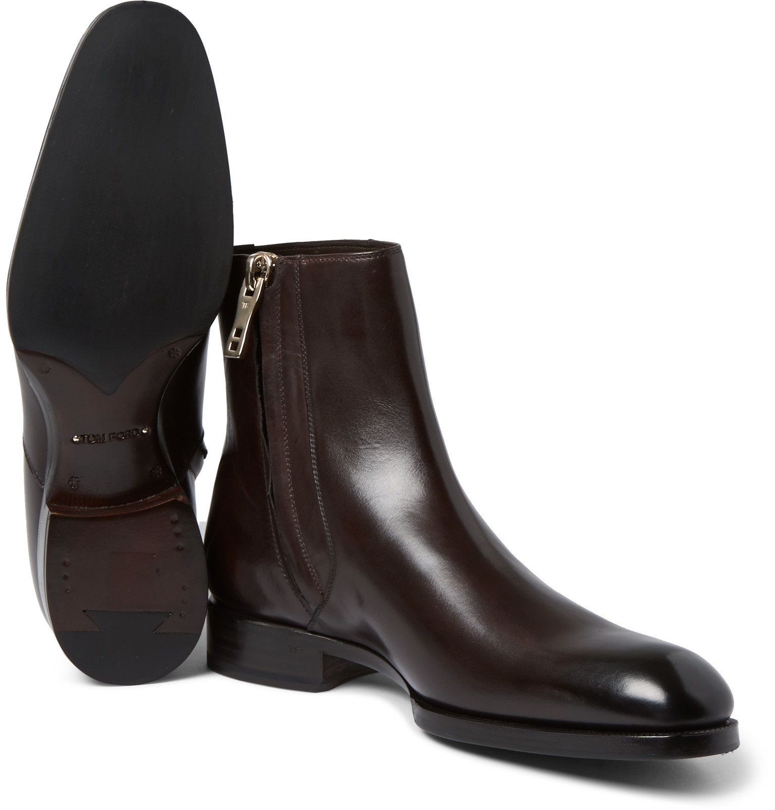 Tom Ford Burnished Leather Chelsea Boots In Brown For Men