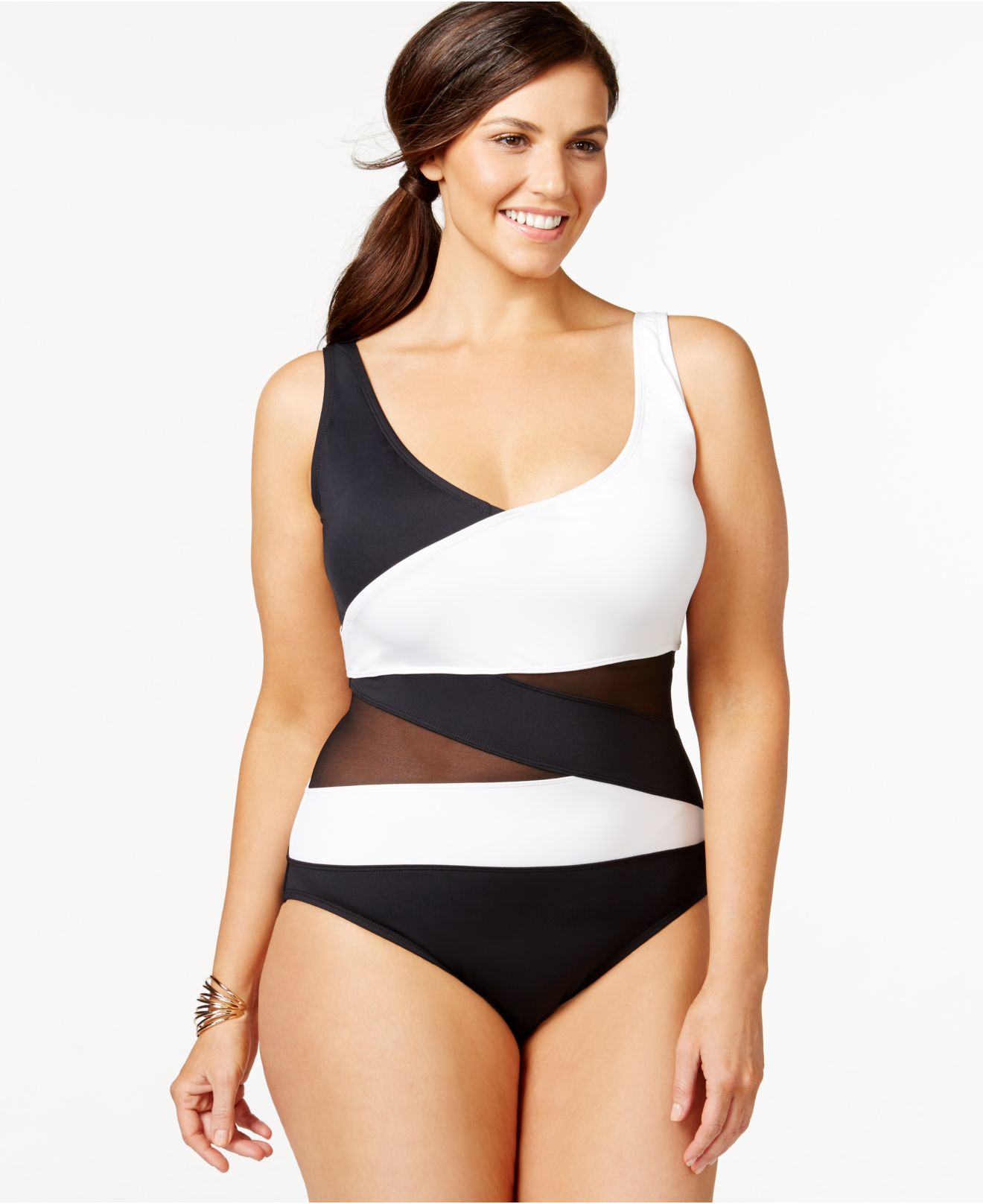 3f4d99b18ac Anne Cole Plus Size Mesh Combo One-piece Swimsuit in Black - Lyst