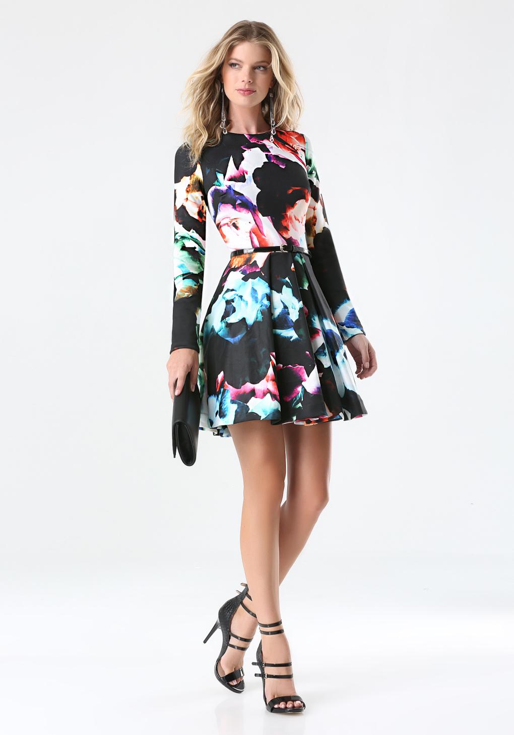 db3a2b232ae Bebe Print Fit   Flare Dress in Black - Lyst