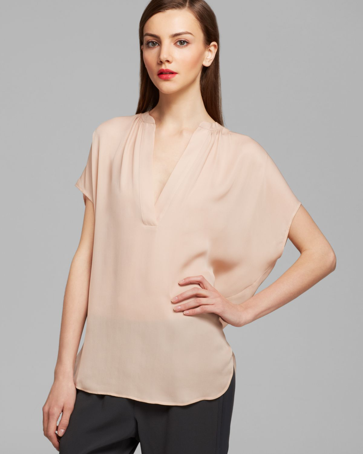 96db8c34556731 Lyst - Vince Blouse Cap Sleeve Silk in Natural