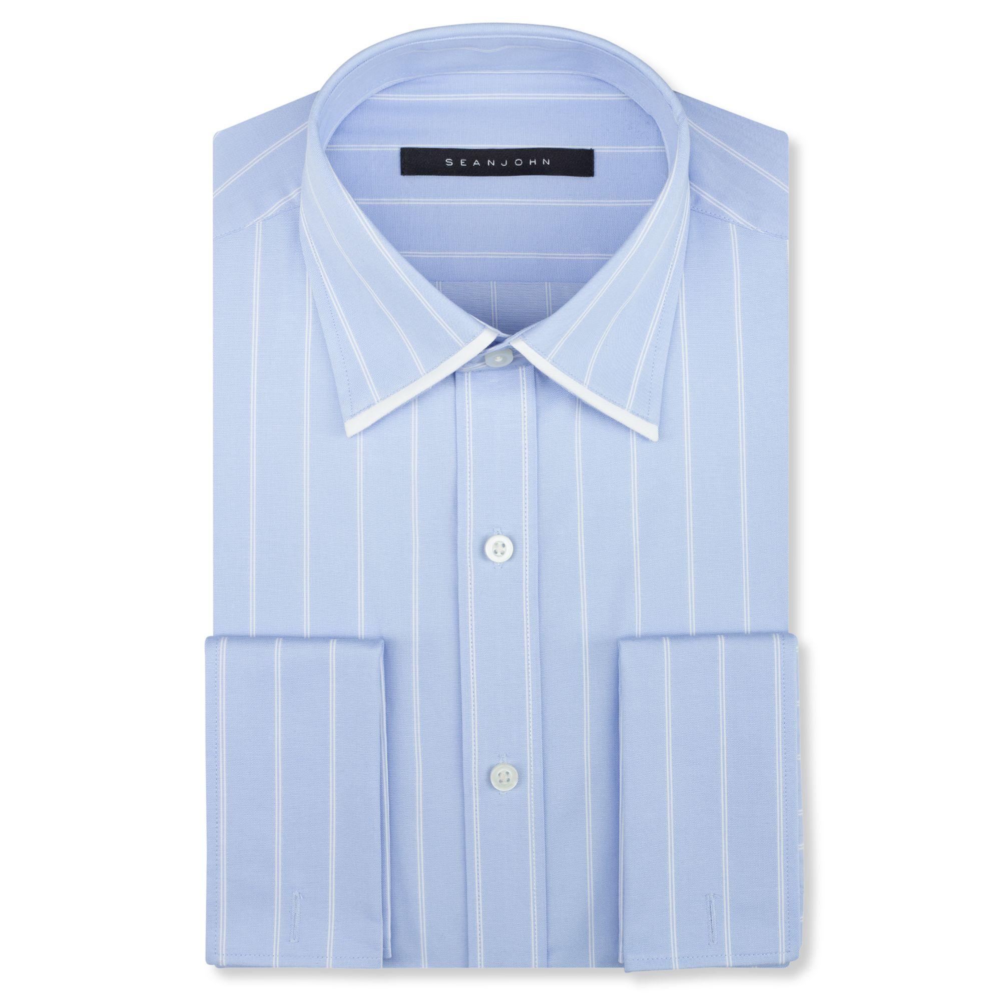 Sean john big and tall sky blue stripe french cuff shirt for Big and tall french cuff dress shirts