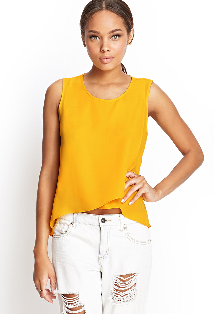 118b2cfbd89ab Lyst - Forever 21 Layered Sleeveless Chiffon Top in Yellow
