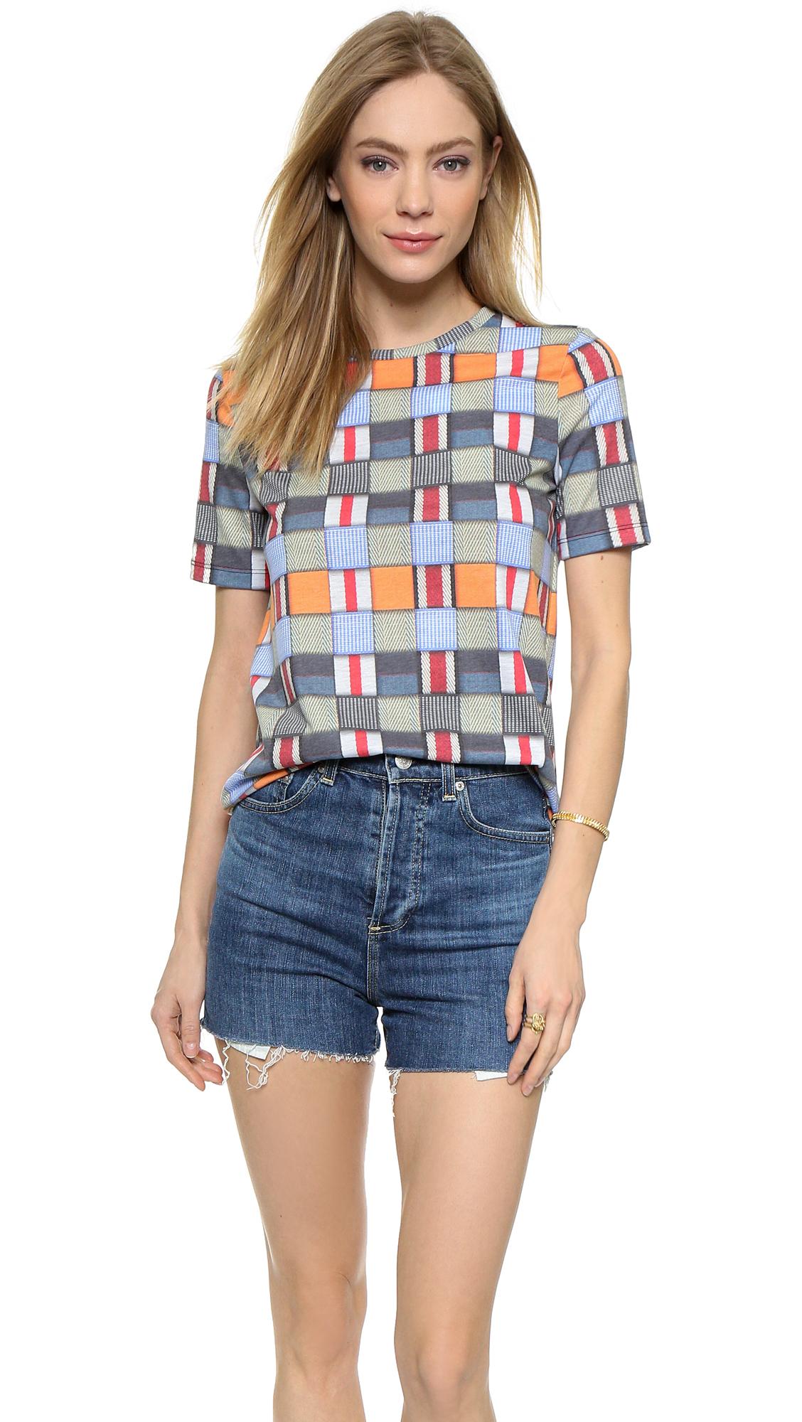 Lyst tory burch patchwork tee shirt multi web for Tory burch t shirt