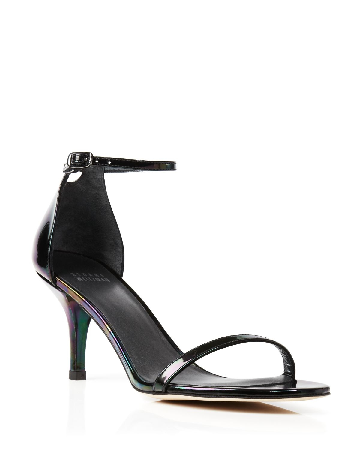 Stuart weitzman Ankle Strap Sandals - Naked Mid Heel in Black | Lyst