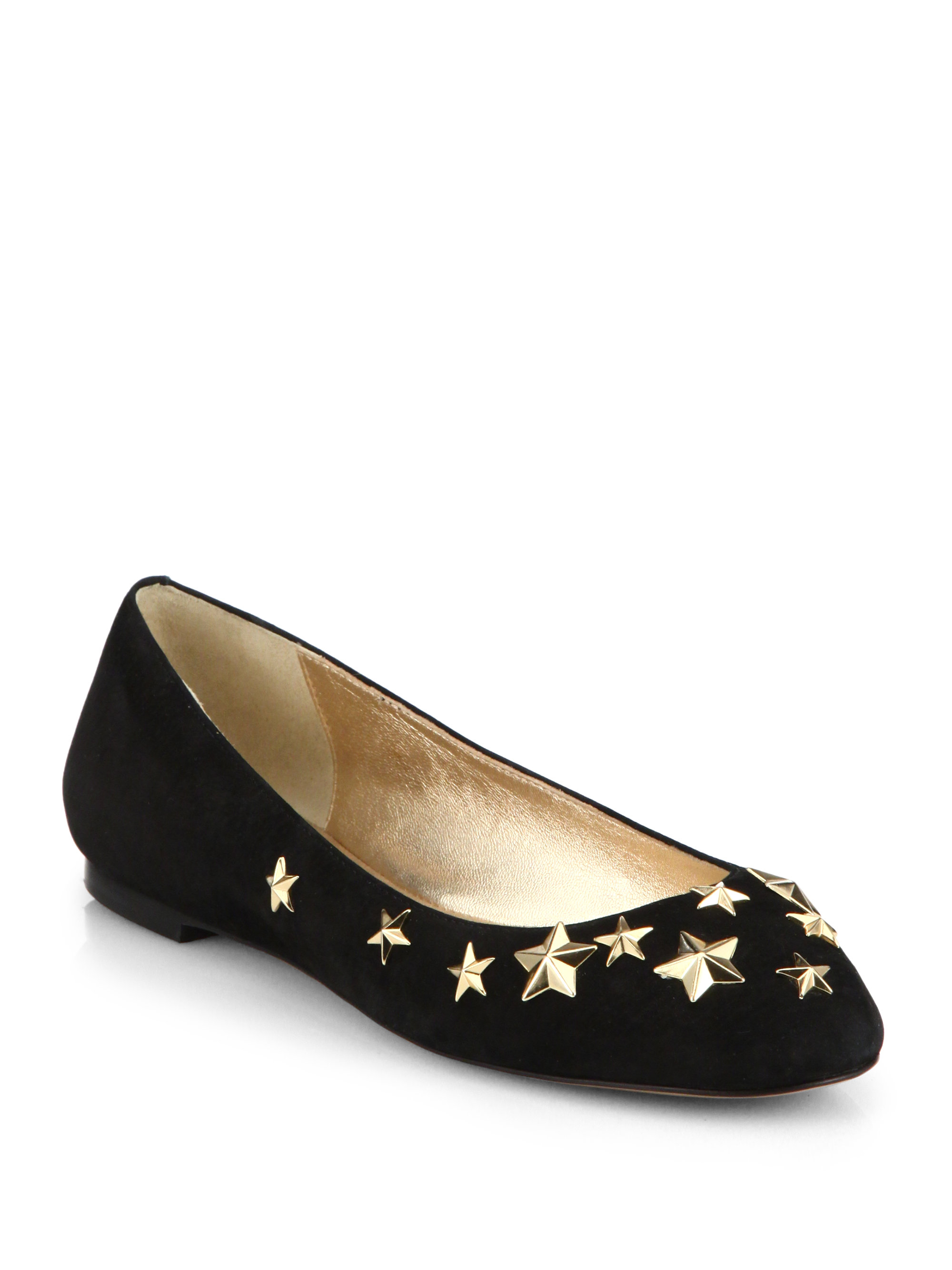 Kate spade new york suede embellished flats in black lyst for Kate spade new york flats