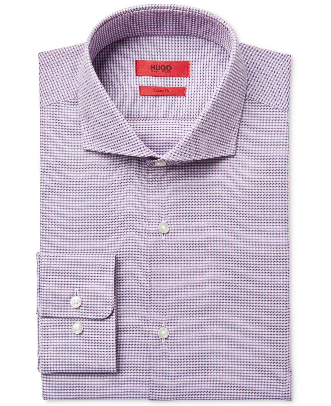 Boss hugo men 39 s slim fit pink micro pattern dress shirt in for Hugo boss slim fit dress shirt