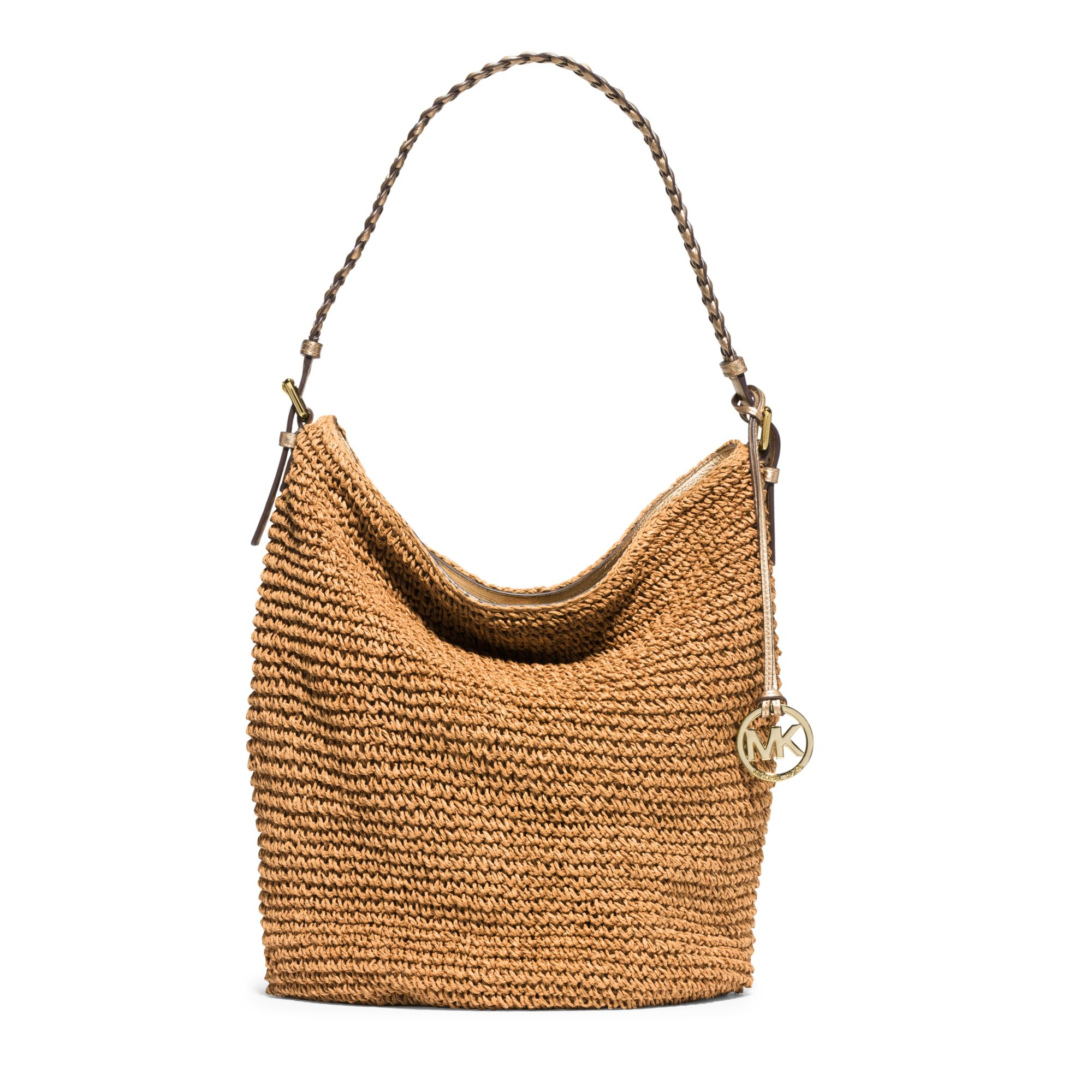 c12ec0b1ab71 ... cheapest lyst michael kors lola large raffia shoulder bag in brown  5f3cb 4e4bc ...