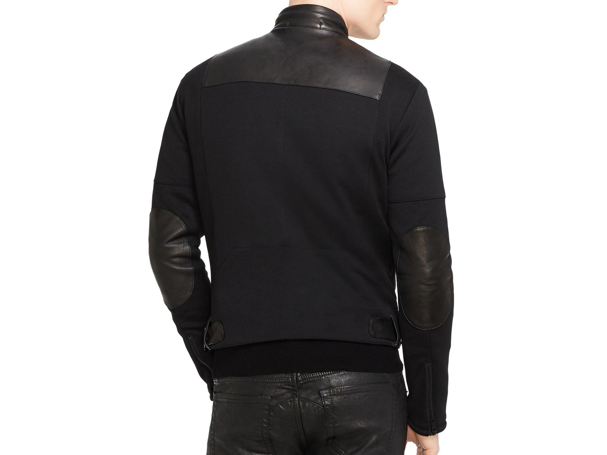 ralph lauren black label leather front slim fit moto. Black Bedroom Furniture Sets. Home Design Ideas