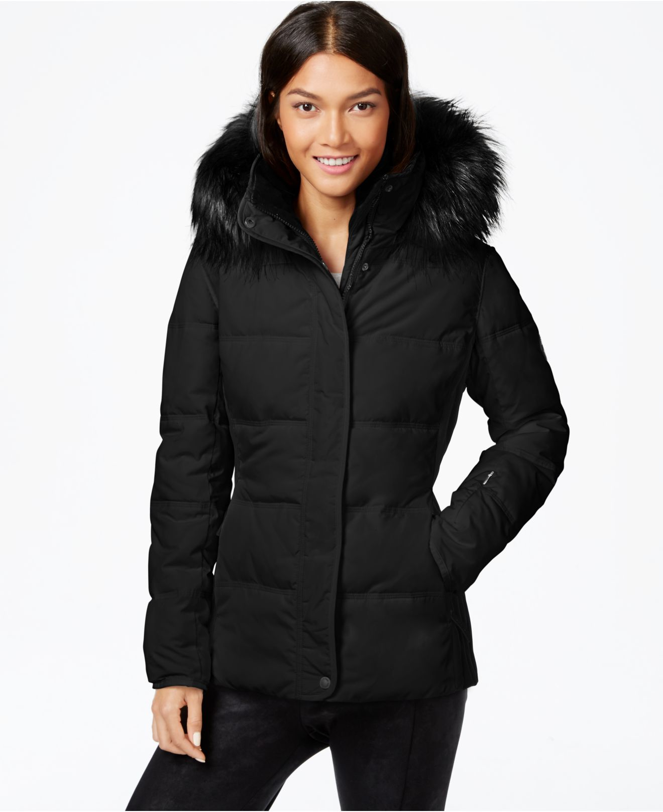 Lyst Calvin Klein Faux Fur Trim Colorblocked Quilted