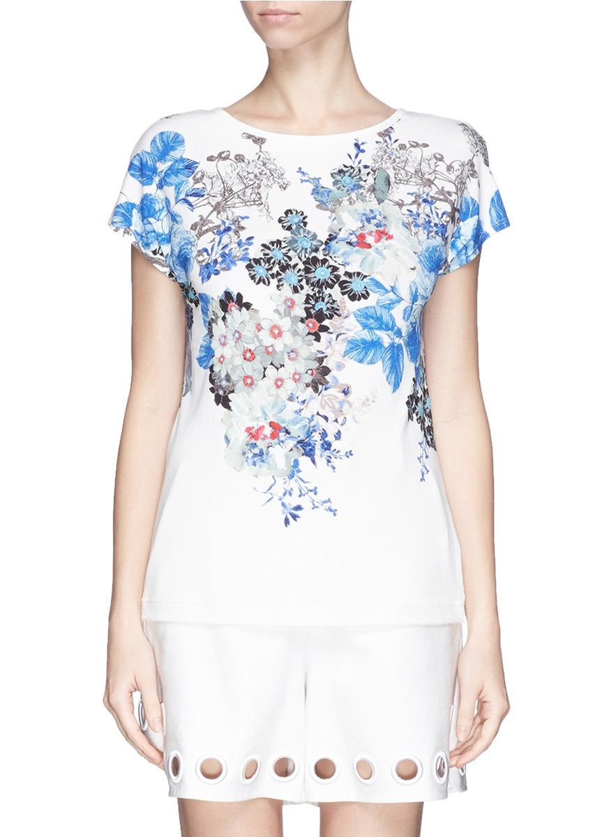 St John Floral Print Jersey T Shirt Lyst