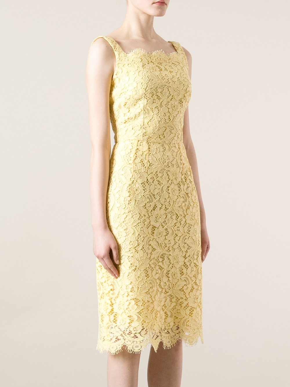 2844c4671e5e Lyst - Dolce   Gabbana Floral Lace Dress in Yellow
