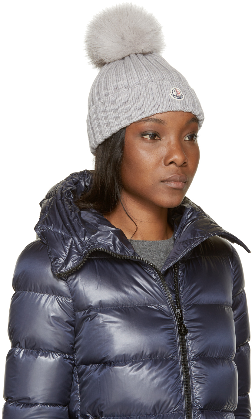 moncler grey berretto hat in gray lyst