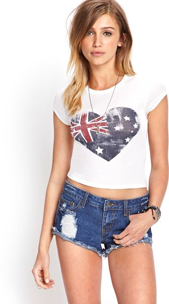 Forever 21 Australian Flag Knit Tee in White (Cream/navy)