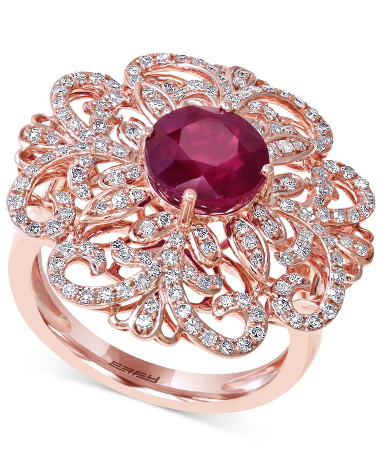 Effy Flower Ring Rose Gold