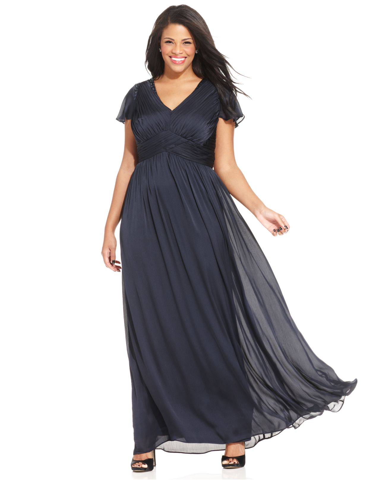 468bc015a0865 Lyst - Adrianna Papell Plus Size Flutter-sleeve Pleated Gown in Blue