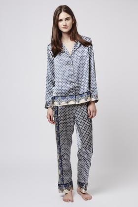 TOPSHOP Tile Print Pyjama Shirt - Lyst 2cd8e10f8