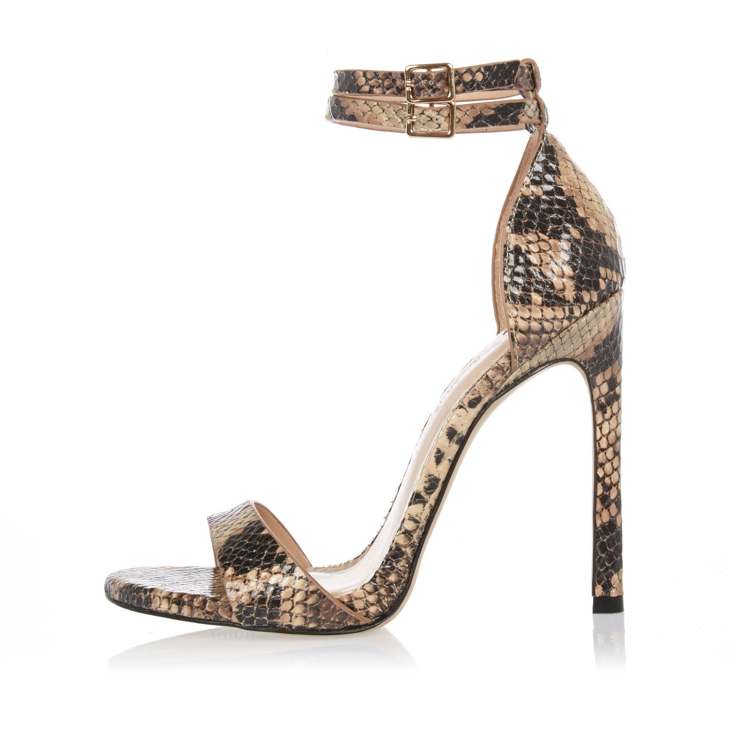 9c2216d8b3ac3c Lyst river island brown snake print barely there heeled sandals jpg  1500x1500 Snake print shoes for