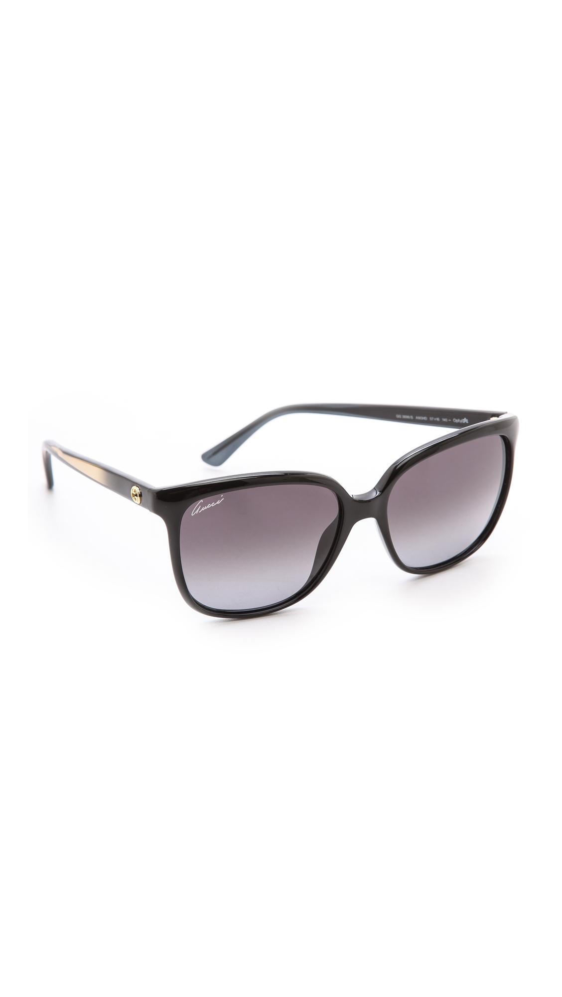 37f43249f2f Gucci Square Gradient Sunglasses - Violet Brown Gradient in Black - Lyst