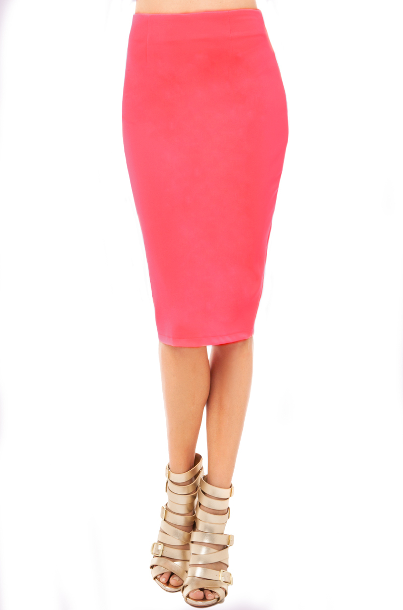 midi skirt in neon pink in pink neon pink lyst