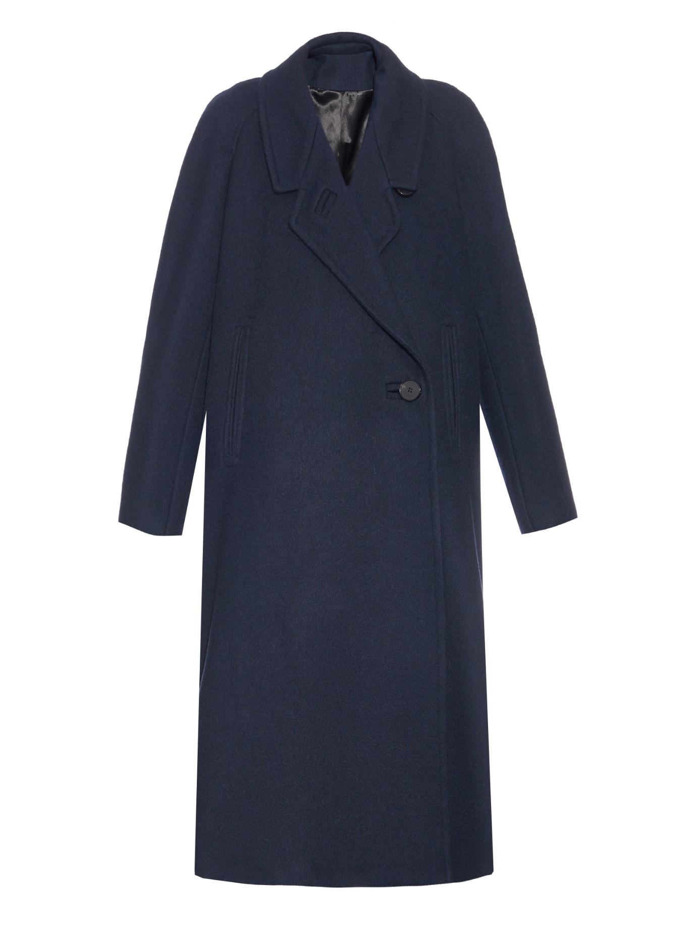 Lemaire Melton-wool Notch-lapel Coat in Blue | Lyst
