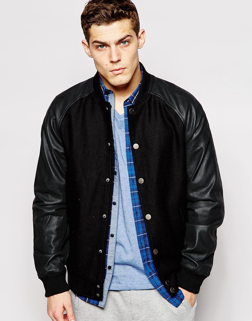 Solid Solid Wool Bomber Jacket With Faux Leather Sleeves in Black ...
