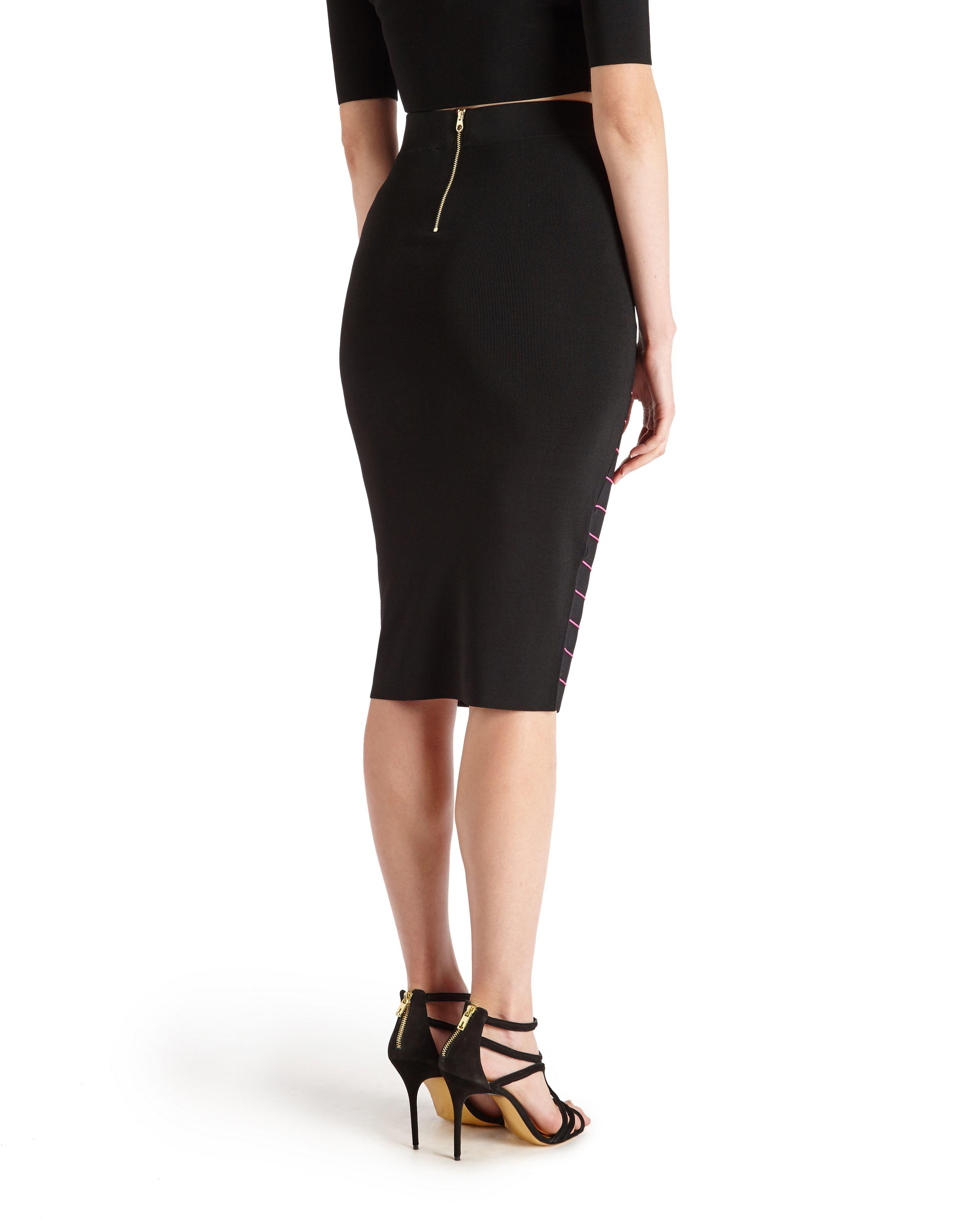 Ted baker Shelpa Stripe Knitted Midi Skirt in Black   Lyst