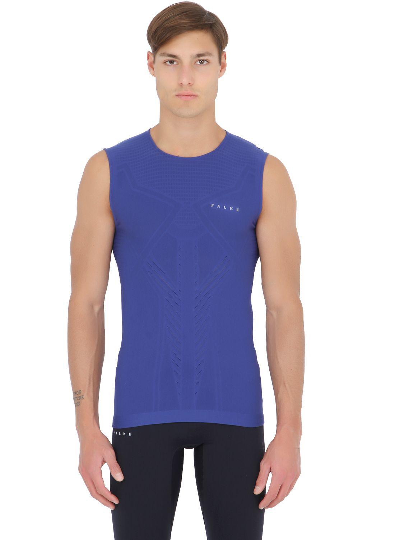 Lyst falke singlet sleeveless running t shirt in blue for Singlet shirt for mens