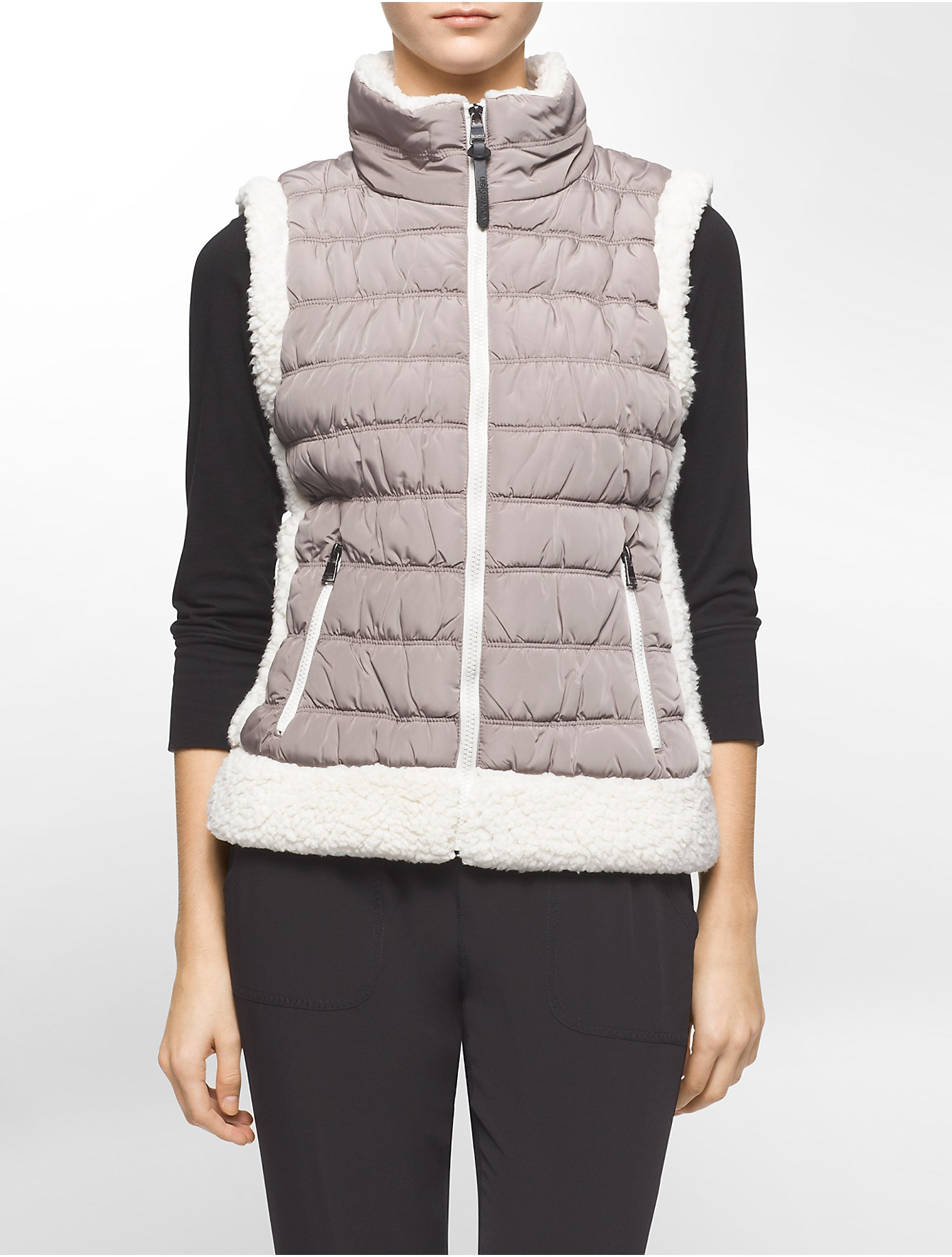 Calvin Klein White Label Performance Faux Shearling Trim Puffer Vest In