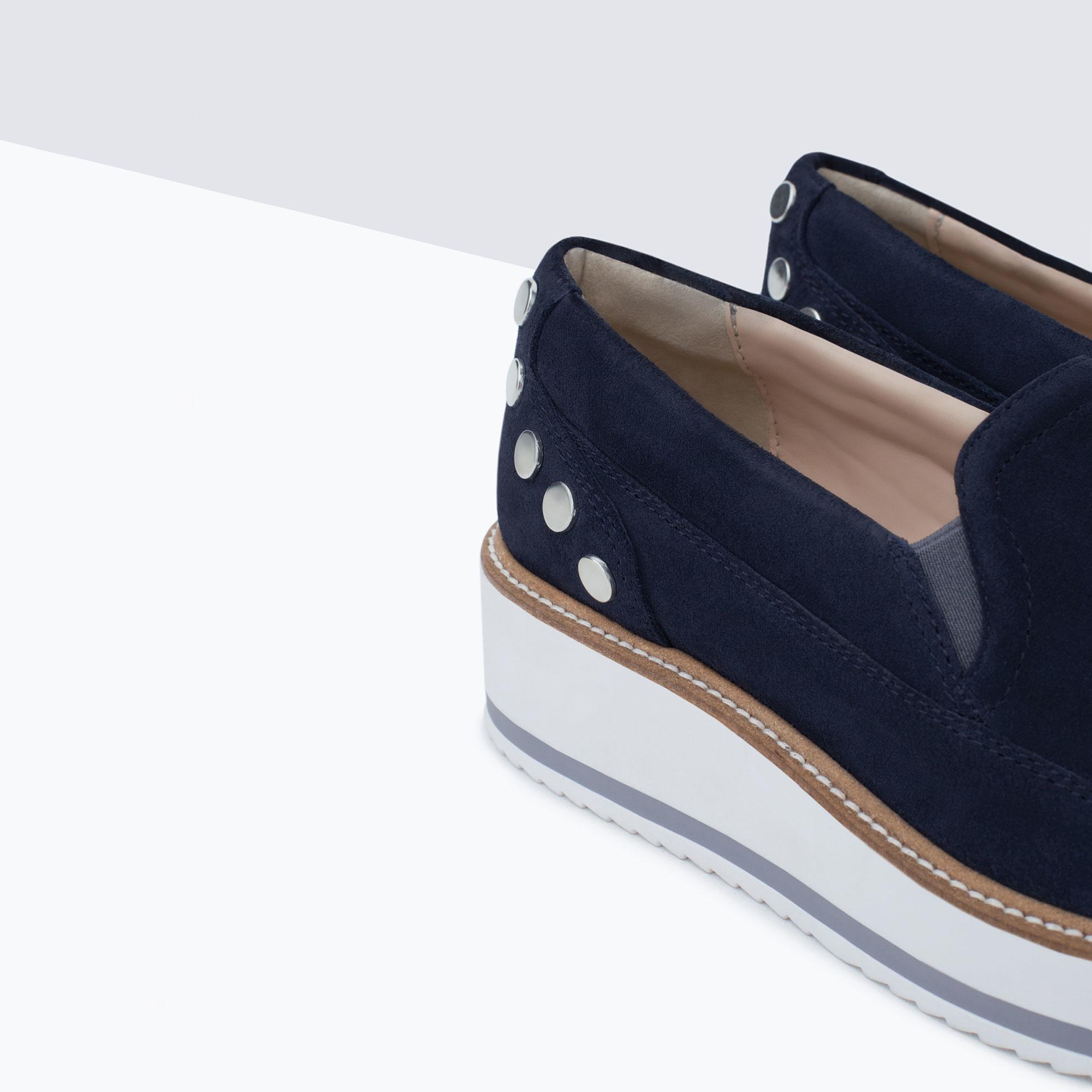 Zara Suede Platform Shoes in Blue | Lyst
