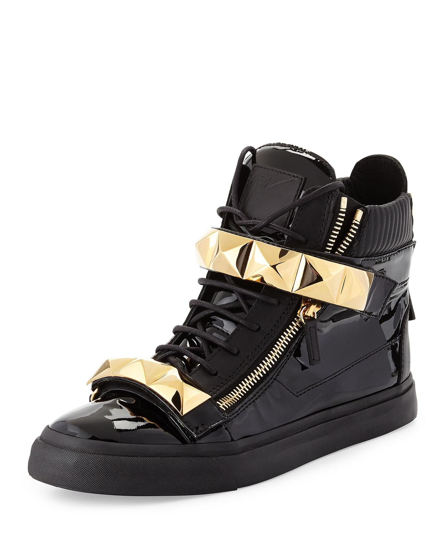 Giuseppe Zanotti Mens Patent Stud Strap High Top Sneaker