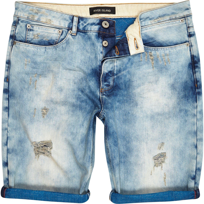 River Island Light Wash Ripped Bleached Denim Shorts in Blue for Men (denim) | Lyst