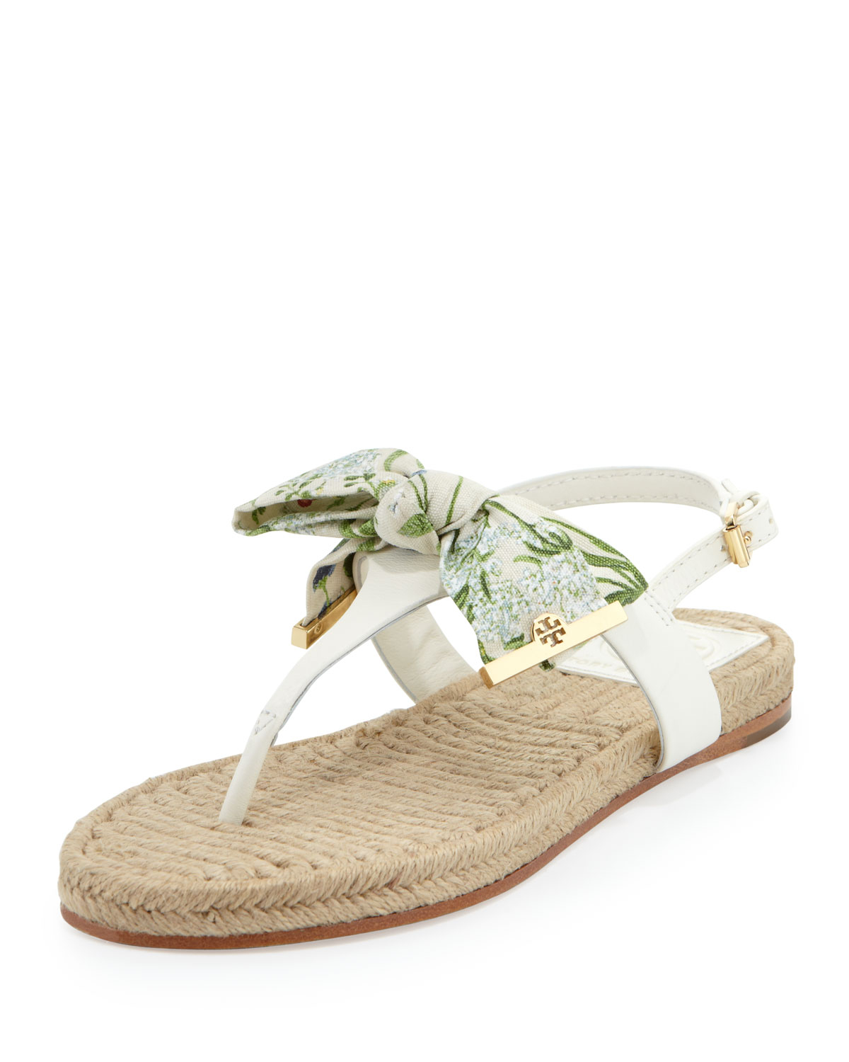d8264ddeee362 Lyst - Tory Burch Penny Floral-print Bow Thong Sandal in White