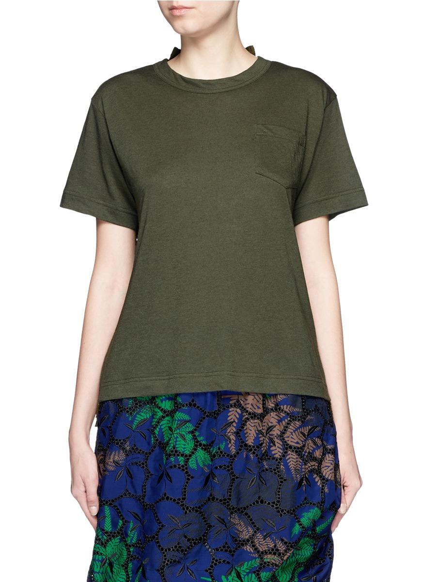 Lyst sacai star lace back slub t shirt in green for What is a slub shirt