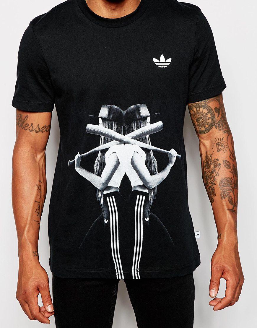 adidas originals mens girl print t shirt
