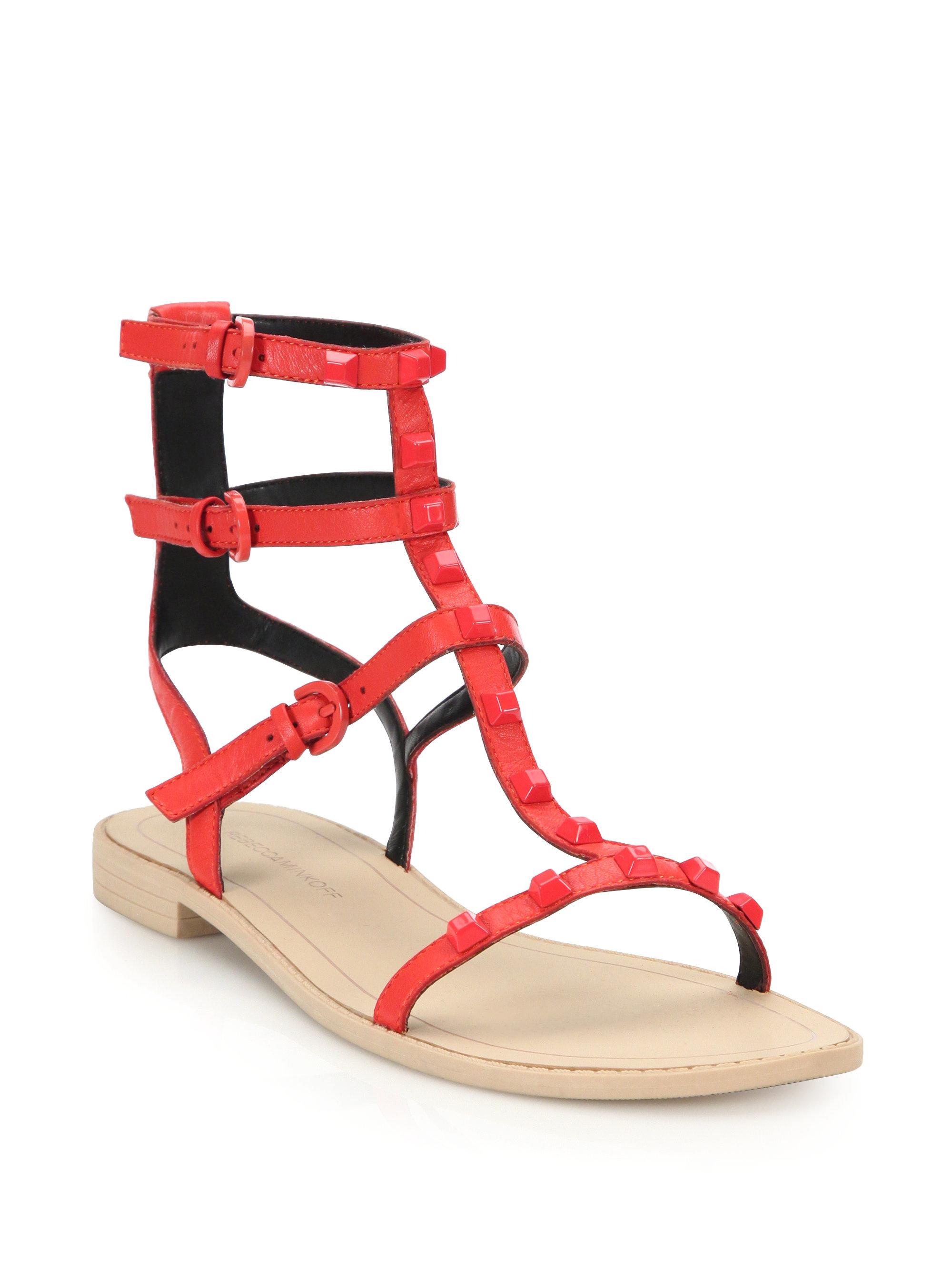 56303213213 Lyst - Rebecca Minkoff Georgina Studded Leather Gladiator Sandals in Red