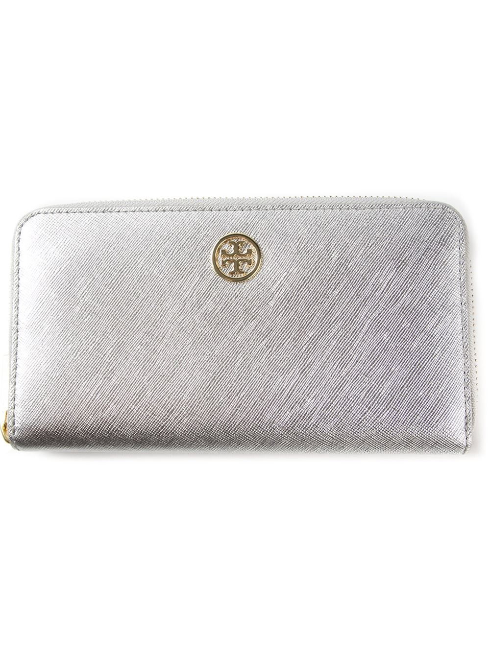 Lyst Tory Burch Robinson Zip Continental Wallet In Metallic