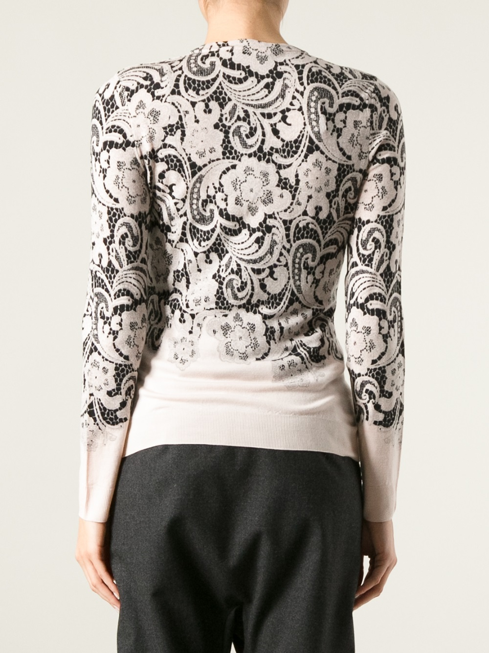 Dolce & gabbana Floral Lace Print Cardigan in Black | Lyst