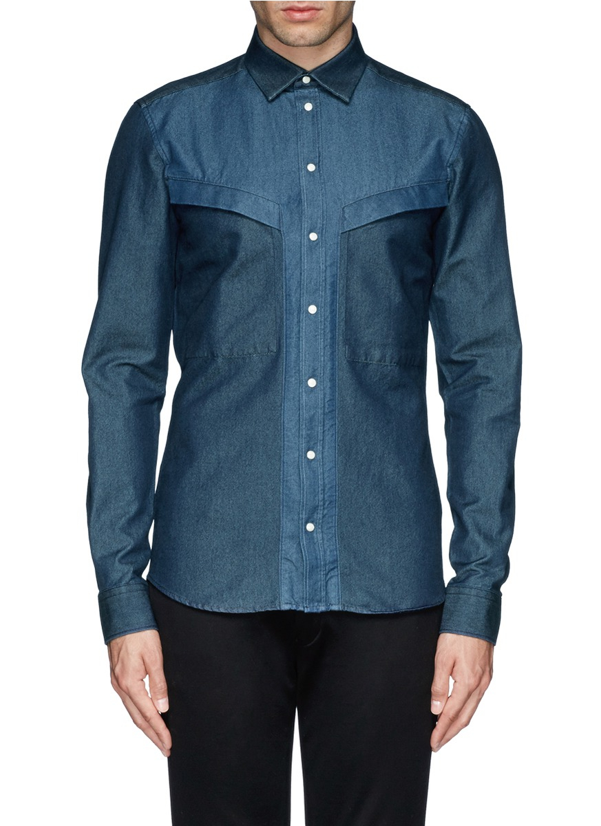 givenchy two tone denim shirt in blue for men lyst