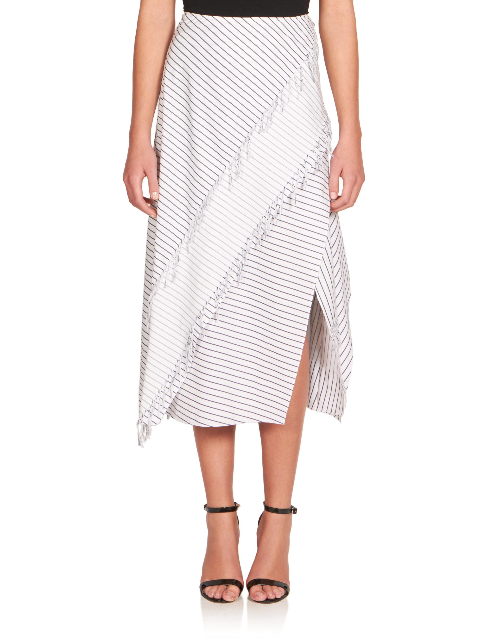 cedric charlier striped cotton midi skirt in white lyst