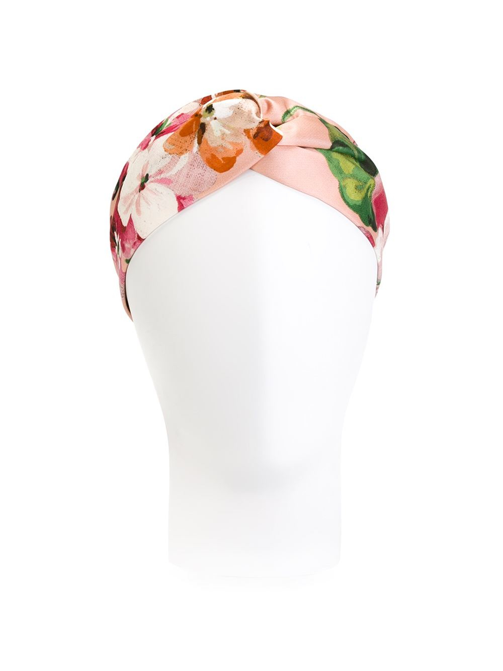 e46936a94b6 Lyst - Gucci Silk Headband With Blooms Print in Pink