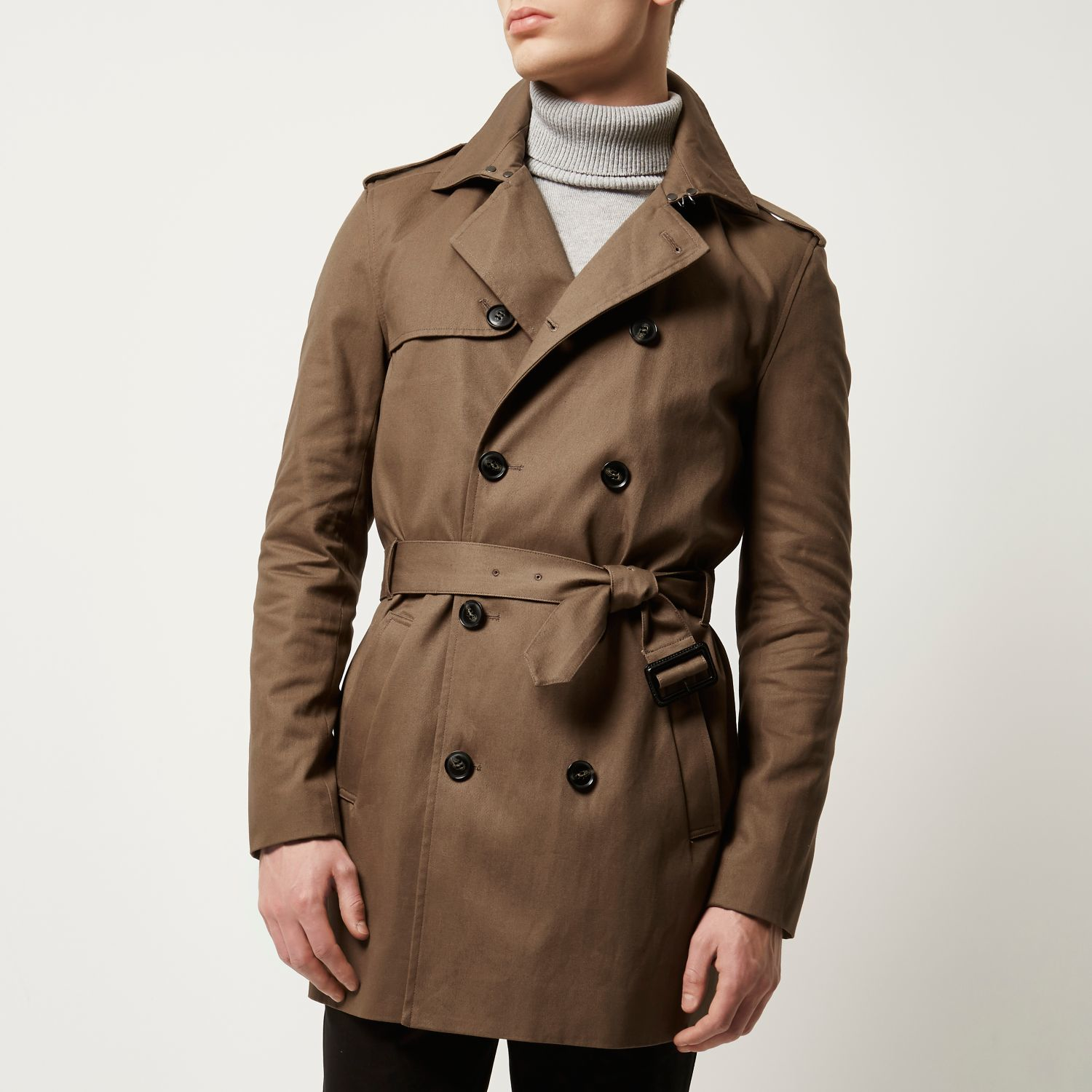 River island Brown Smart Double Breasted Mac Coat in Brown for Men ...