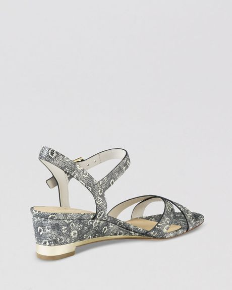Cole Haan Open Toe Wedge Sandals Melrose In Animal Black